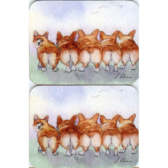 2 x Welsh Corgi coasters – Enid Blyton five run away together by susanalisonart