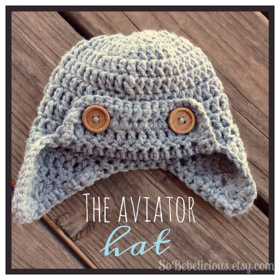 Aviator Hat in Grey with wood buttons earflaps beanie Newborn 0-3 mos Crocheted Baby Photography Prop shower gift by SoBebelicious