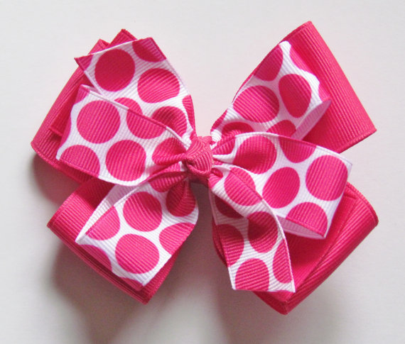Shocking Pink and White with Polka Dots Jennifer Style Stacked Boutique Hair Bow Clip on alligator clip with no slip grip by thestripedcherry