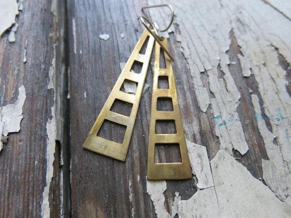 big brass earrings, geometric, minimalist, handmade. by whoop