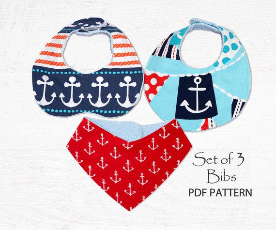 Bandana Baby Bib sewing pattern PDF, toddler pattern, baby sewing pattern pdf, baby clothing pattern, bib pattern, drool bib pattern BIBS by MyChildhoodTreasures