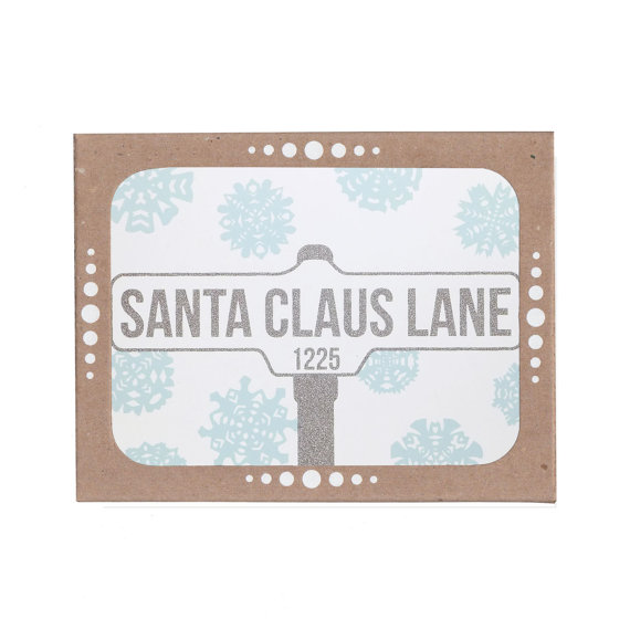 SALE – Santa Claus Lane – Set of Six Silver and Sky Blue Cards by OrangeTwist