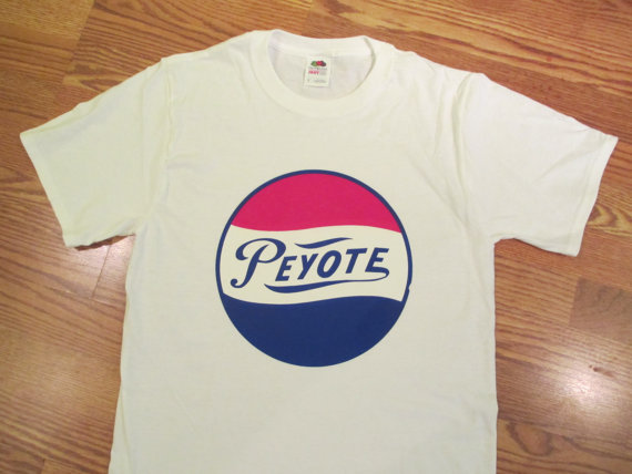 Vintage 70's Peyote 'Pepsi' Transfer on New T Shirt by SHOPHULLABALOO