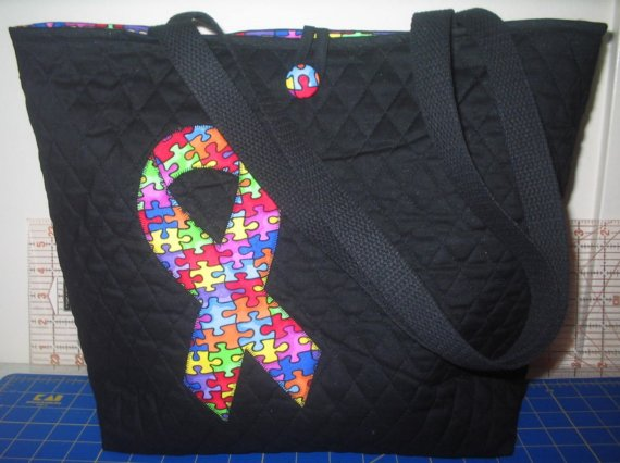 New Black Handmade Autism Awareness Tote Bag by TracyDesigns