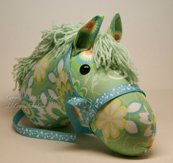 Stick Horse Head, Green with Yellow, Orange & Blue Flowers, MADE to ORDER, With or Without Stick by LilsGarden