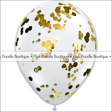 12 & quot; CONFETTI FILLED Clear latex BALLOONS (3 pc, 6 pc, 12 pc) – Circles or Hearts … Metallic Gold by PinkPoodlesofParis