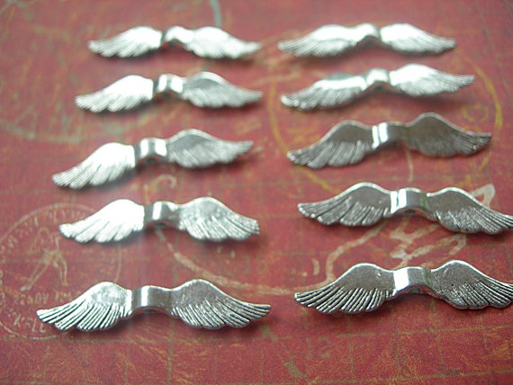 Classic Angel Wings BEADS in Antiqued Bright Silver 36mm x 8mm lot of 10 by Seriousbeader