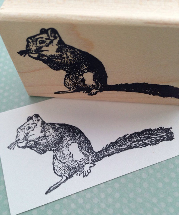 Squirrel Eating Acorn Wood Mounted Rubber Stamp 6140 by 100ProofPress