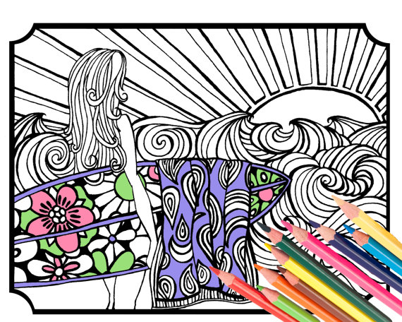 Surfer Girl Coloring Page – Digital Download Beach Art – A Colorful World Suf & Sun by Alexine and Lori Goldwag – Beach Adult Coloring Book by MellowMermaid