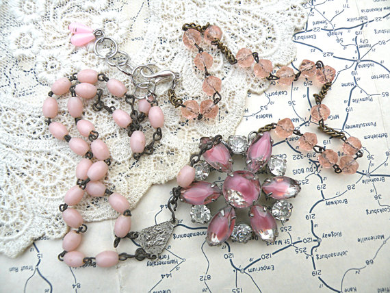 pink rosary necklace assemblage upcycle pin rhinestone by lilyofthevally