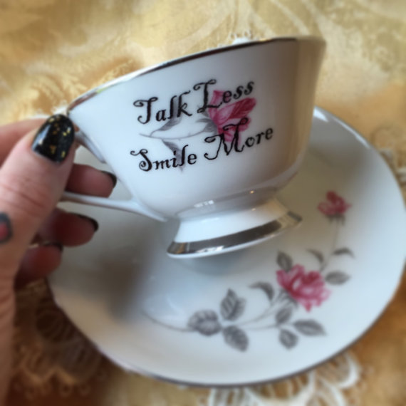 Talk Less Smile More Tea Cup and Saucer Set Hamilton Theme by LithiasCreations