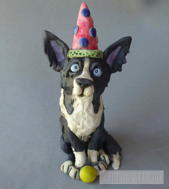 Border Collie Dog Ready to Party Sculpture by RudkinStudio