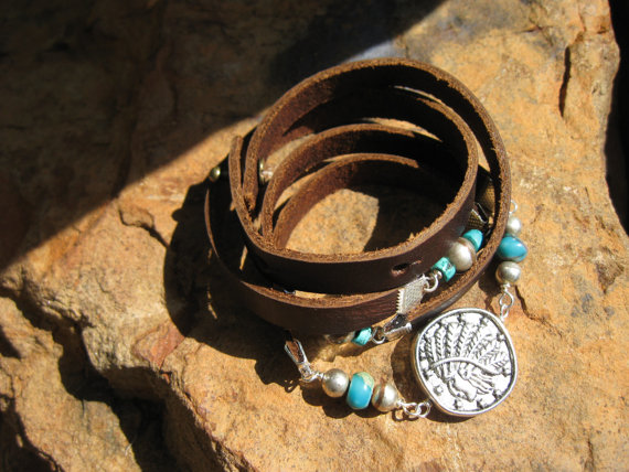 Bohemian Endless Leather Wrap – TRIBES – Coin Medallion – African Turquoise Bracelet by fleurdesignz