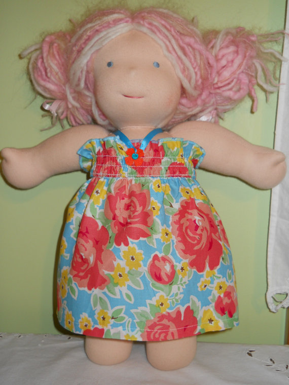 Pretty Pink and Blue Floral Halter Dress – Waldorf Doll Clothes – 15 Inch Bambo Size by CraftsWithHeart