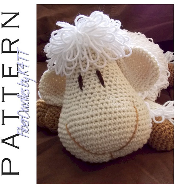 INSTANT DOWNLOAD: Pillow Pal Lamb Crochet Pattern by FiberDoodlesbyK4TT