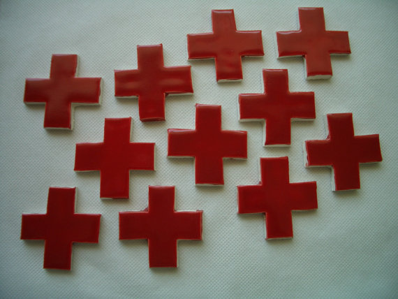 RDC – RED CROSS's Set – Ceramic Mosaic Tiles by TinkerTiles