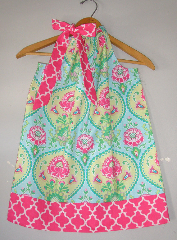 sale Turquoise pink pillowcase dress coupon is till2016 Michael Miller fabric pillowcase dress 3 6