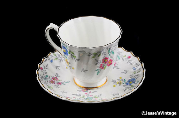 Royal Doulton Tea Cup & Saucer Set Pastoral 1940s Hand Painted England Demitasse Footed Cup Saucer Set by JessesVintage