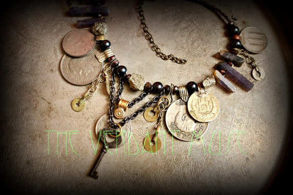 Tribal Assemblage Necklace- Chunky Raw Pyrite, Purple Iolite, Iron Key & Kuchi Coin Necklace by theverdantmuse