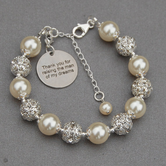 Thank You for Raising the Man of My Dreams, Mother of the Groom Gift, Mother of the Groom Bracelet, Mother in Law Gift, Romantic Wedding by AMIdesigns
