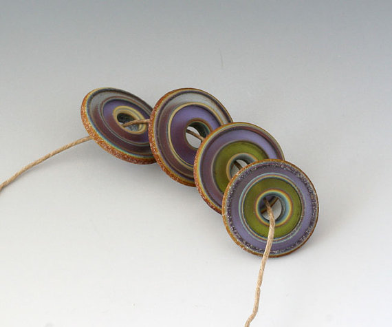 Rustic Stain Glass Disks – (4) Handmade Lampwork Beads – Blue, Lavender by outwest