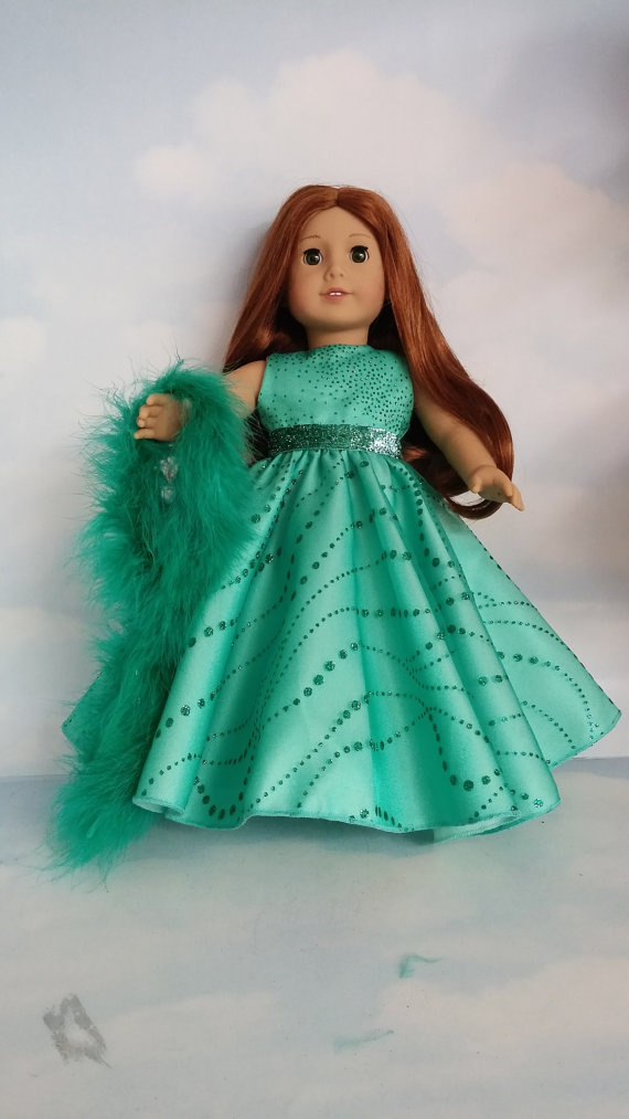 18 inch doll clothes – # 270 Green Sparkly Gown handmade to fit the American Girl Doll – FREE SHIPPING by susiestitchit