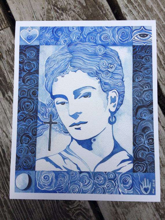 Blue Frida Giclee print by Megan Noel by meinoel