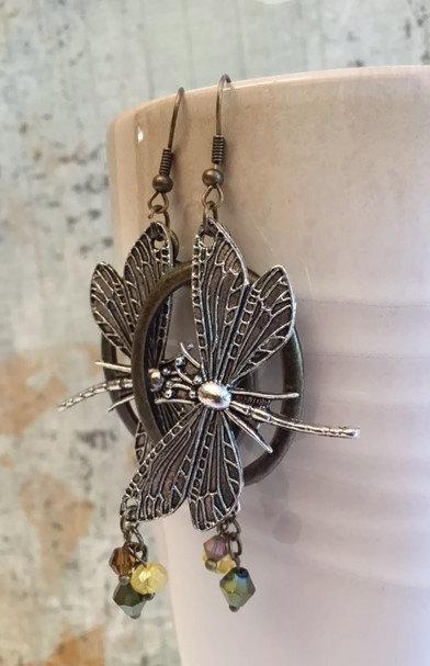On Sale Dragonfly Earrings, Yellow, Green, Topaz, Vintage Look, Statement Earrings by HandmadebyTinaB