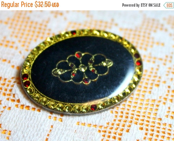 MOVING SALE Half Off Vintage True Art Deco Yellow and Red Rhinestone and Black Enamel Lacquered Brooch by SavageAttic