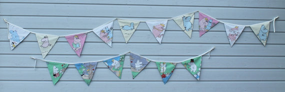 RESERVED Two fabric buntings reused green blue white cotton Moomins banner fabric garland by HandmadebyMia