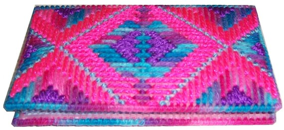 Plastic Canvas Kathys Kaleidoscope Checkbook Cover PDF Format Instant Download by kathybarwick