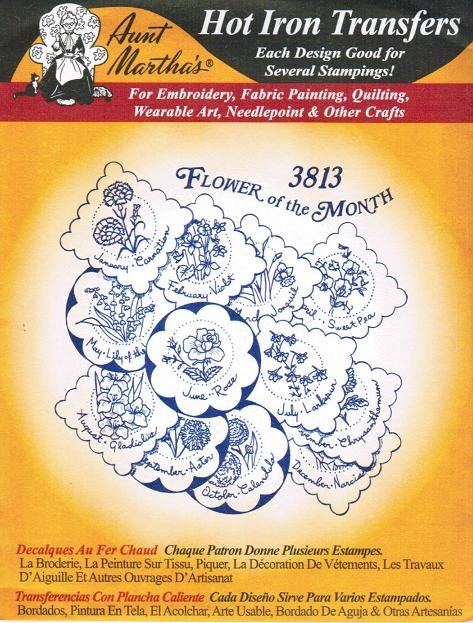 Flower of Month Aunt Martha's Embroidery Transfer Designs by paulitransfers