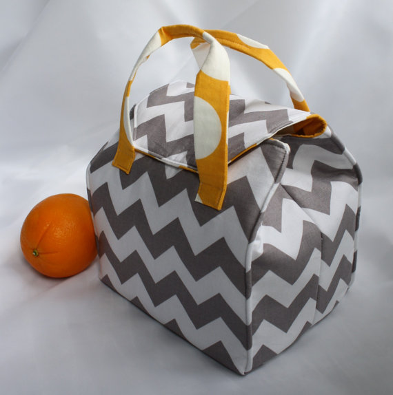 Custom Insulated Bento Box Carrier / Lunch Tote / Lunch Bag – Reusable – Washable – Choose Your Fabric by binskistudio