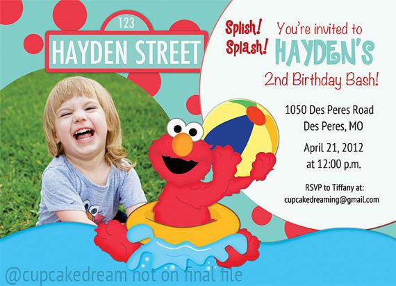 Elmo Birthday Pool Party Invitation Sesame Street Swimming by CupcakeDream