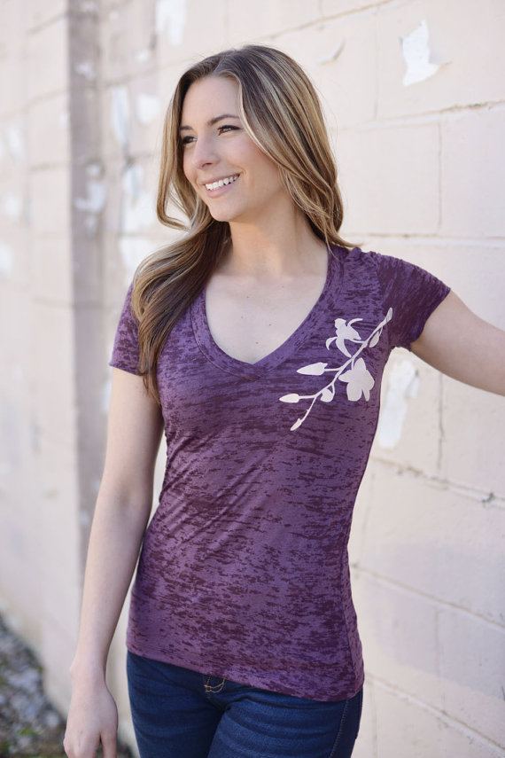 burnout tee. nature tshirt. plum. graphic tees for women. soft womens tshirt. ladies t-shirt. ellembee. orchid flower. new. purple tee. by ellembee