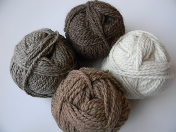Alpaca and Merino Bulky Yarn – 100 Yards – Available in Natural White, Fawn, Brown and Grey by DreamsweptAlpacas