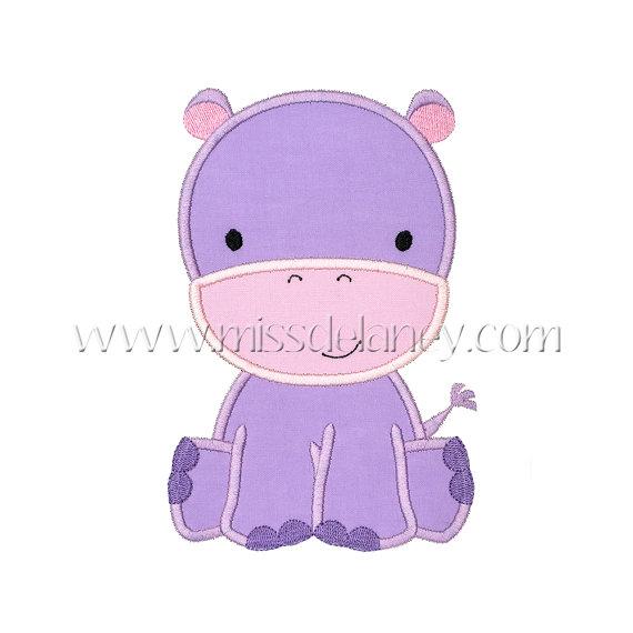 Hippo Applique Design by MissDelaneyShop