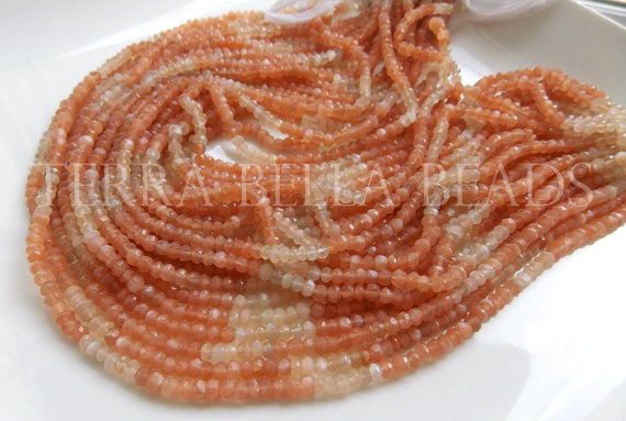 6.5 & quot; half strand shaded peach orange MOONSTONE faceted gem stone rondelle beads 3.5mm by TerraBellaBeads