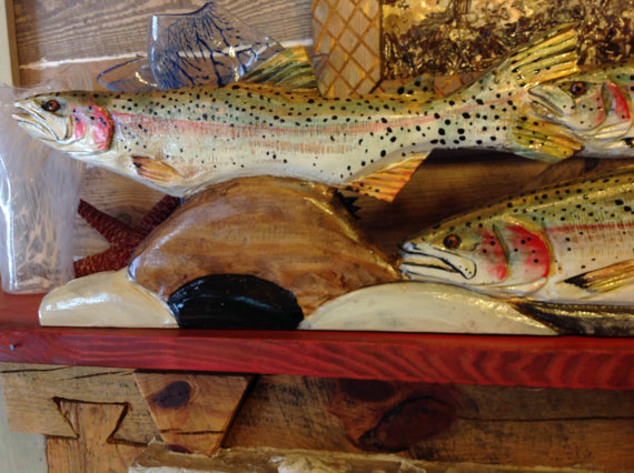 Rainbow Trout River Scene 4ft. chainsaw art rustic centerpiece wood lake fish swimming over river rock carving wall mount or table stand by oceanarts10