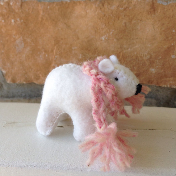 White bear cub SINGLE with pink scarf by woolfood