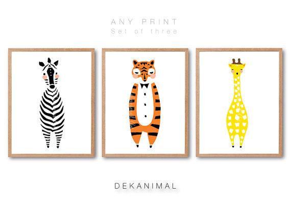Baby Zebra Print, Baby Tiger Print, Baby Giraffe Print, Racoon Print, Nursery animal Art, Kids room art, Nursery room Art by dekanimal