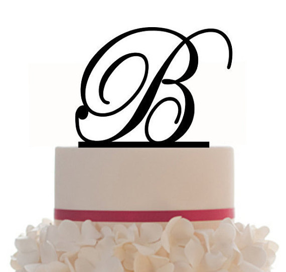 Custom Wedding Cake Topper with Personalized Initial with your choice of font, color and a FREE base for display by Mclaserpro