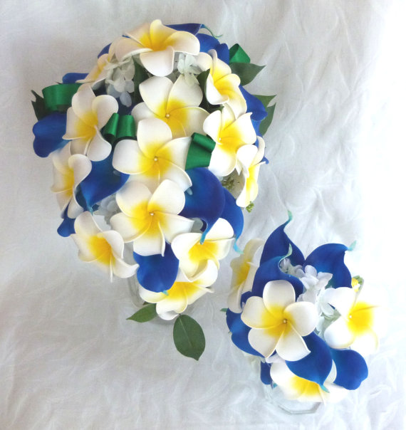 Plumeria and blue calla lily bouquet set with creme white hydrangea by ChurchMouseCreations