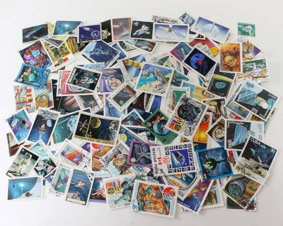 50 or 100 space theme vintage stamps by CissyPixie