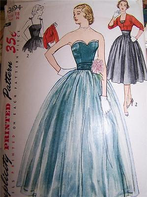 Simplicity 3694 1951 Vintage Sewing Pattern Strapless Dress with Jacket by NanasSewingBasket