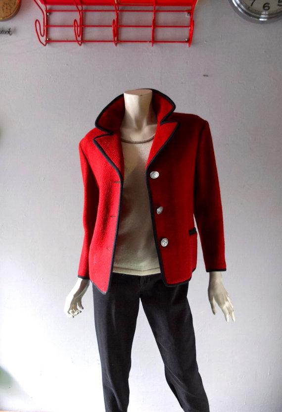 Vintage Austrian Wool 3-Button Blazer Jacket – Bavarian Traditional Dirdl Style – sz June 8 – Cordovan Wool w / Black Trim – Fall Winter Coat M by CoolVintageFinds