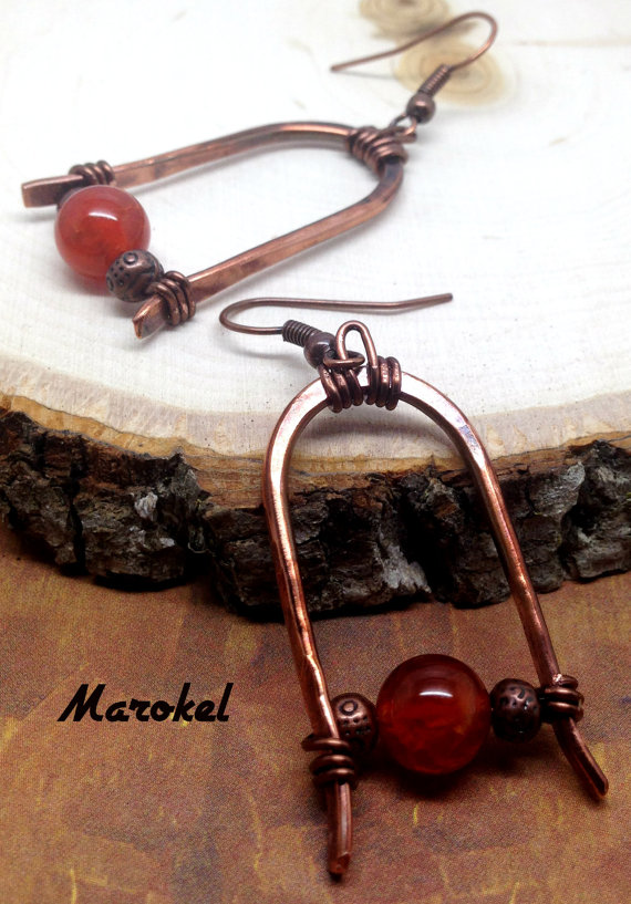Fire Agate Arch Earrings Oxidized Copper Hammered Wire Copper Minimalist Brick Red by marokel