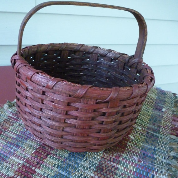 Little Red Round Basket by JoannasCollections