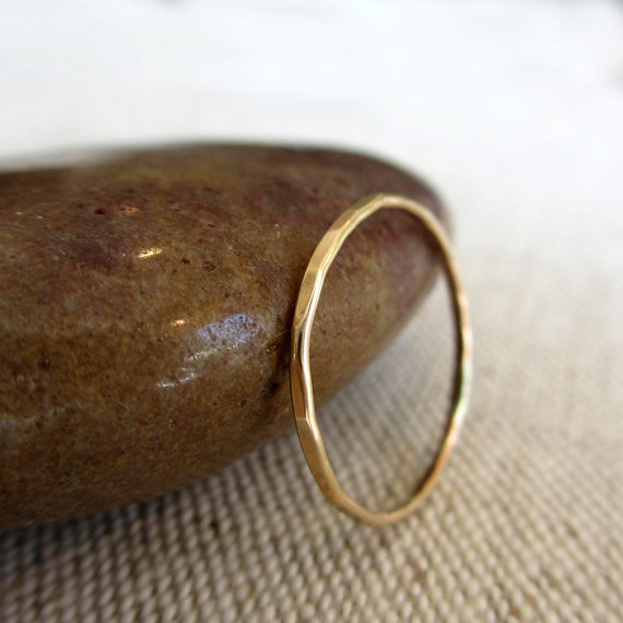 Whisper Ring – Slim Band of 14k Gold with Lovely Broad Facets by BlueZinniaDesigns