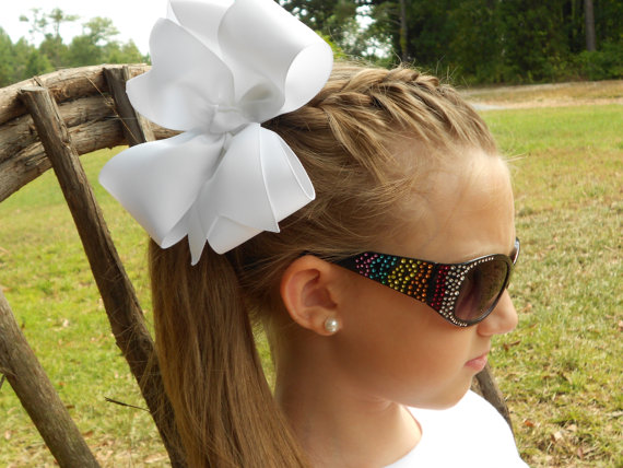 Large Hair Bows, Solid Basic, Style hairbow, Girls Ribbon, School Colors, Handcrafted, Wide monogram, monogrammed initial, Custom Boutique, by MaciesCustomBowZ